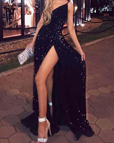 D1222,Sexy Prom Dresses,Black Spaghetti Straps Mermaid Prom Dress with Slit