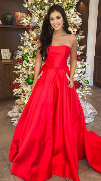 Gorgeous Strapless Red Long Ball Gown cg1220