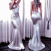 D1281,Plus Size Prom Dress, Silver Satin Prom Dresses Long Mermaid Sexy Party Dresses