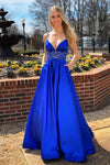 A Line Royal Blue Prom Dresses Satin Formal Evening Gowns H3829
