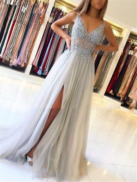 R021,gray sleeveless v-neck tulle slit-skirt prom dress beaded lace spaghetti-straps floor length evening dress school event dress