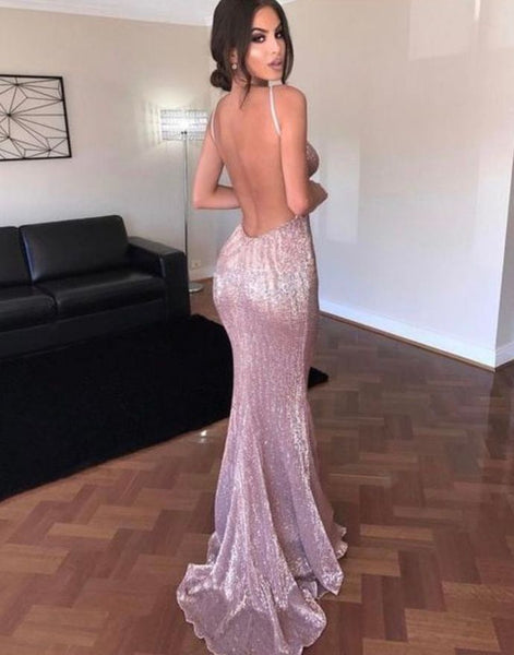 D1180,Sexy Pink Evening Dresses,Open Back Mermaid Prom Dresses,Sequin Prom Dress