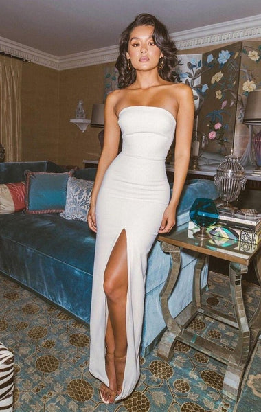 D1121,Sexy White Long Prom Dresses,Strapless Mermaid Evening Gown with Side Slit