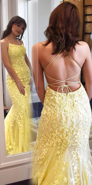 D1374,mermaid yellow lace long prom dress with lace up back Prom Dress with Appliques