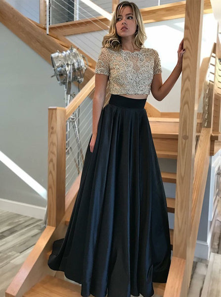 D1248,Modest Two Pieces Black Short Sleeves Prom Dress with Beading