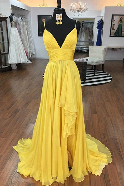 D1355,Yellow v neck chiffon long prom dress,irregular evening gown