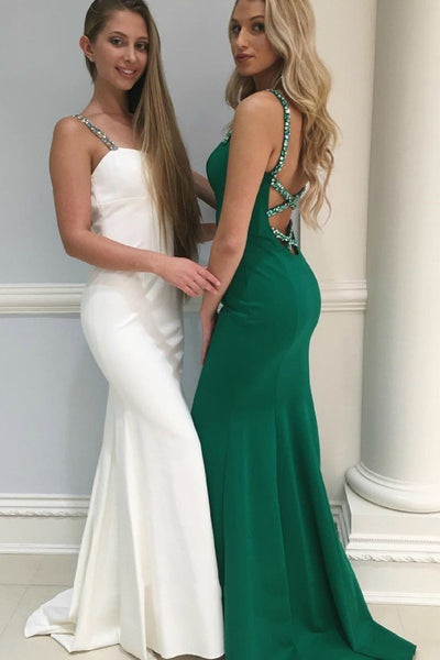 D1319,White/Green Mermaid Prom Dress, Satin Prom Dress, Long Evening Gowns with Straps