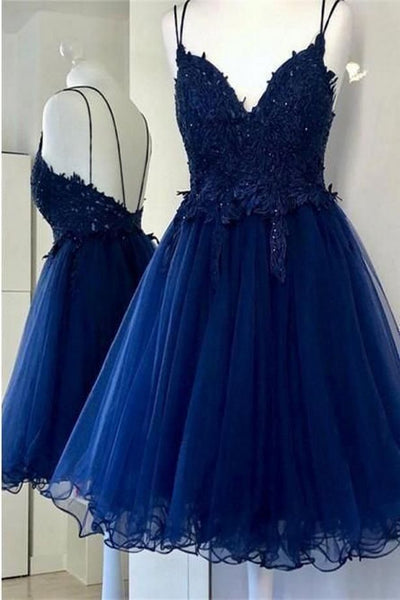 Charming V neck Navy Blue Prom Dress, Lace Homecoming Dress H3699
