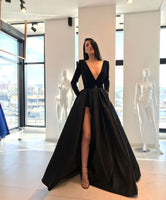 0282,simple light black long sleeves v-neck school event dress long evening dresses skit-skirt satin pocket prom dress