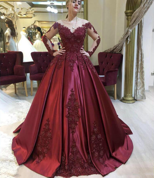 D1302,Burgundy prom dresses lace appliqué long sleeve beaded elegant prom ball gown