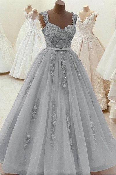 Long Appliques Ball Gown Prom Dress, Sweet 16 Quinceanera Dress T1850