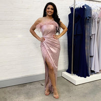 D1285,Charming Pink Mermaid Prom Dresses,Strapless Slit Evening Dress