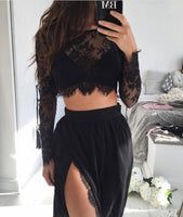 D1247,Black Two Pieces Prom Dresses,Lace Chiffon Evening Dress with Side Slit,Sexy Sheath Prom Dress
