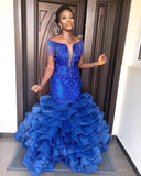 D1304,Royal Blue Mermaid Prom Dress Scoop Neck Off Shoulder Gorgeous Ruffles Floor Length Formal Women Evening Dresses