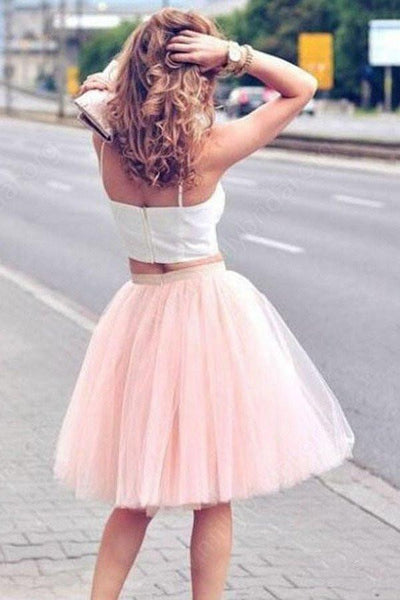 Cute 2 Pieces Straps Cute Dress White/Pink Homecoming Dresses Short Prom Dress Party Gowns LD566