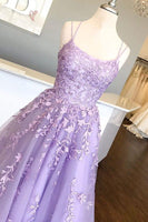 D1114,Spaghetti Straps Floor Length Prom Dress With Appliques, Long Evening Dress Lace Up Back