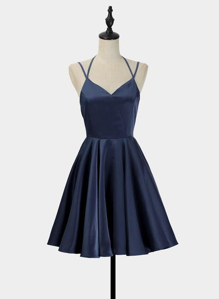 R0167,simple short blue sleeveless v-neck mini evening dress women dress satin ruffles spaghetti-straps homecoming dress