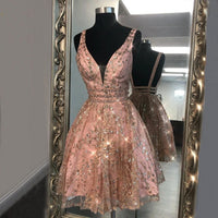 0271,short pink sleeveless v-neck tulle school event dress short evening party dresses backless spaghetti-straps beaded homecoming dress