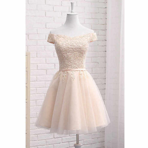 0207,off the shoulder v-neck mini evening dresses short sleeves applique fashion dress tulle strapless homecoming dress