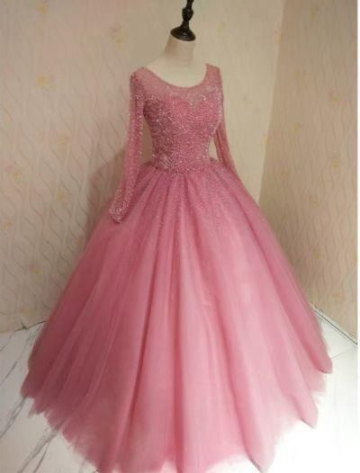 Long Sleeve Tulle Ball Gown, Pink Beaded Quinceanera Dresses T1853