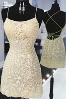 Open Back Spaghetti Straps Sheath Lace Short Prom Dress Homecoming Dresses Hoco Gowns LD3055