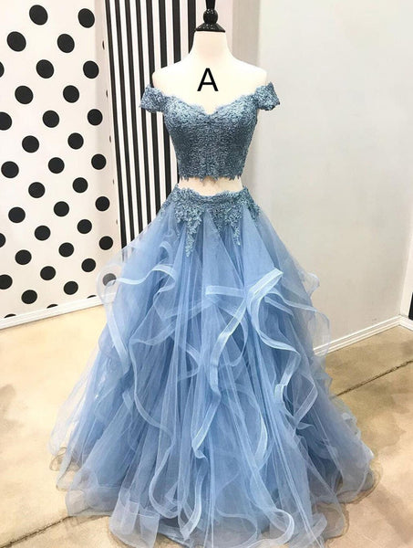 D1204,Light Blue A line Prom Dresses,Lace Tulle Long Party Dresses,Layered Princess Prom Dress