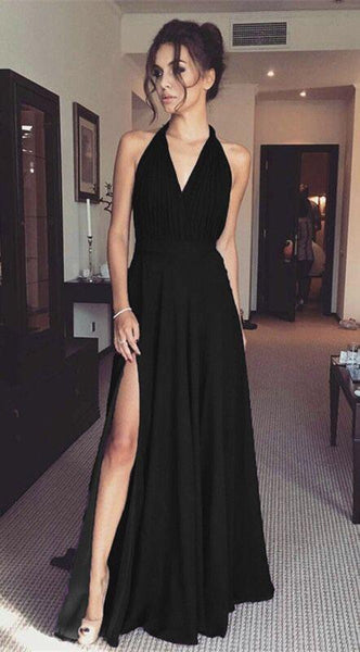 black prom dresses,black evening gown,black bridesmaid dresses F7543