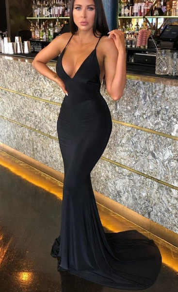 Black Plunge Prom Dress Party Dresses cg1823