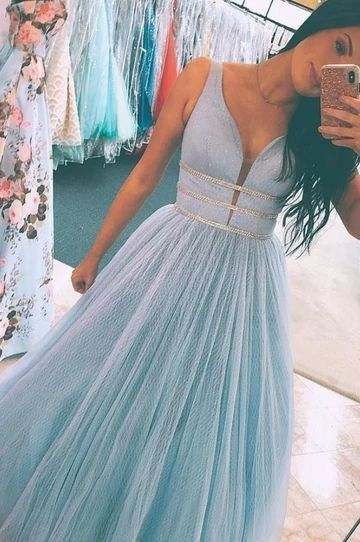 V neck Blue Prom Dresses Sleeveless Evening Gowns for Teens H3825