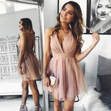 0247,pink sleeveless v-neck halter party dresses mini evening dresses tulle backless homecoming dresses
