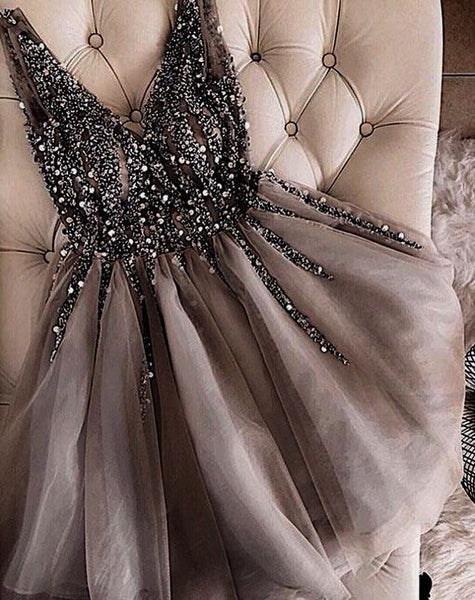 0231,sleeveless v-neck women dresses mini evening dresses party dresses beading tulle lace homecoming dress