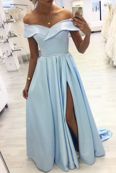 D1307,Light blue prom dresses satin off the shoulder prom dresses