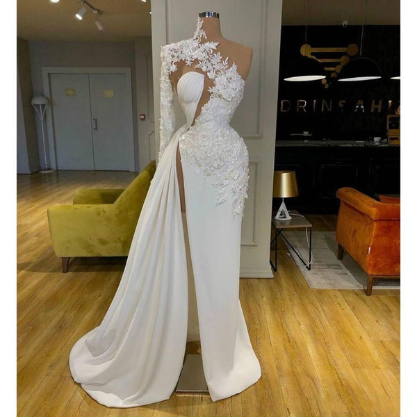 Exquisite Lace White Prom Dresses High Neck One Shoulder Long Sleeve Formal Evening Gowns KS381