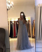 D1135,Chic Grey Prom Dresses,Beaded Spaghetti Straps Prom Dress,V neck Organza Party Dresses