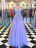 D1257,Sweet Lavender Prom Dresses,Tulle V neck Evening Dresses with Beading,Prom Dress Long Birthday Dress
