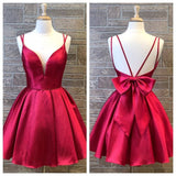 0265,simple red sleeveless v-neck bow-knot short school event dress spaghetti-straps backless satin homecoming dress