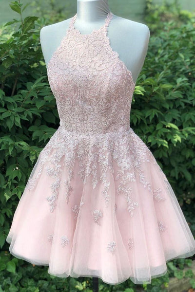 0203,pink sleeveless halter fashion dresses midi dresses tulle applique short homecoming dress