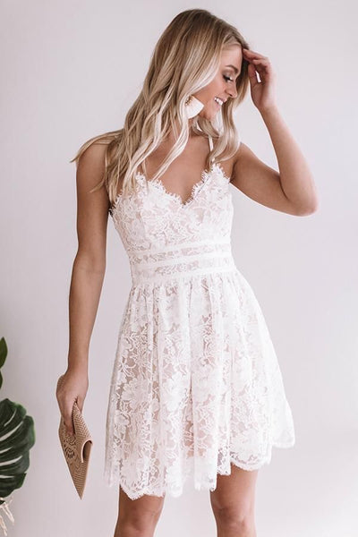 R0159,short white lace v-neck sleeveless mini women dress spaghetti-straps applique lace homecoming dress