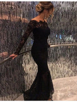 D1389,Charming Mermaid Black Prom Dress,Lace Long Sleeves Prom Dresses