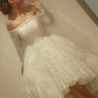 D1142,White Prom Party Dress Substantial Short Party Dresses With A-line/Princess Sequin Dresses