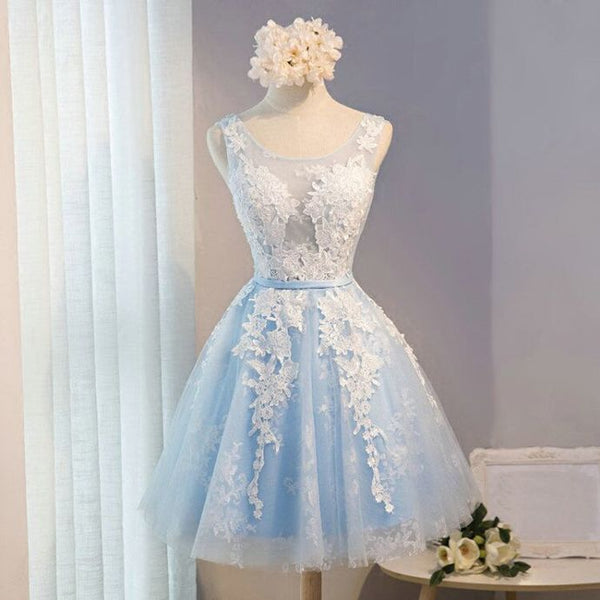 Appliqued Short White Homecoming Dress, Short Dress for Beach cg6864