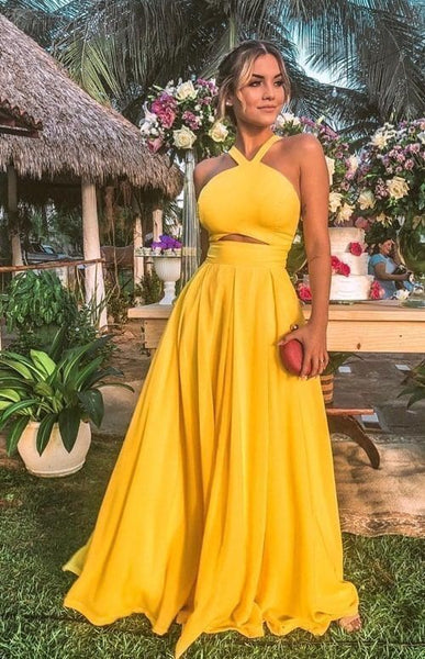 Sexy Sleeveless Evening Dresses Yellow Prom Dresses H4041
