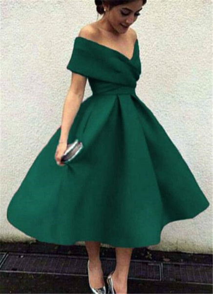 D1146,Dark Green Off Shoulder Tea Length Party Dress, Satin Wedding Party Dresses, Green Formal Dresses