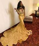 Sparkling Appliques Mermaid Black Girl Prom Dresses Sexy V-neck Gold Long Sleeve Evening Dresses M0110