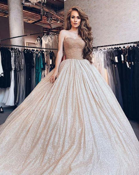 Sweetheart neck Sequins Ball Gown, Formal Long Prom Dress, Sweet 16 Quinceanera Dress T1831