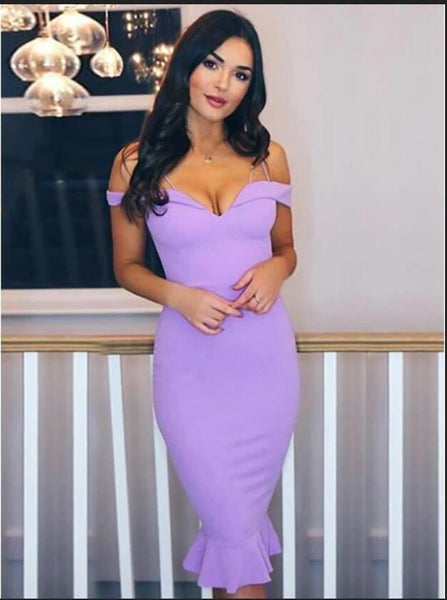Sexy Off shoulder Purple Prom Dress, Simple Evening Dress T452