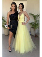 Charming V neck Yellow Tulle Prom Dresses, Long Evening Dress H3535