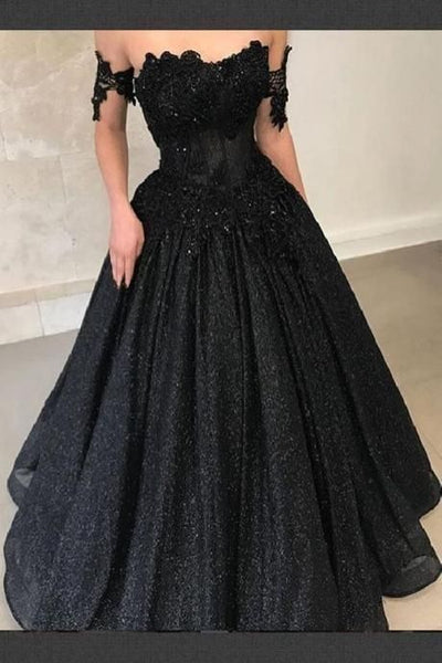 Charming Black Prom Dresses Sequins Formal Evening Gowns for Women H4187