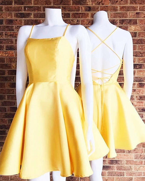 0217,charming simple yellow mini evening dresses satin racer-back women dresses spaghetti-straps fashion dress a-line homecoming dress