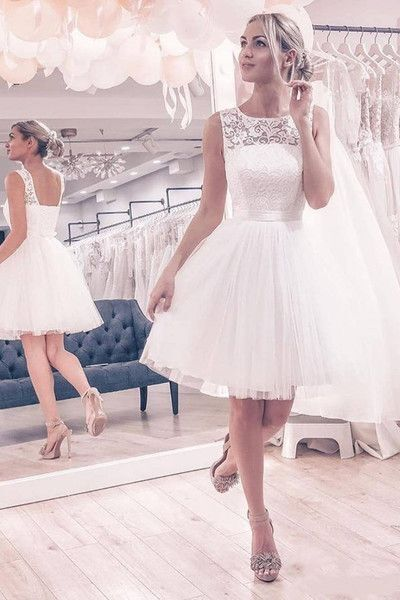 Elegant Lace A Line White Prom Dress, Wedding Party Gown H3697